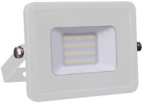 V-Tac Slimline LED Floodlight 20w Warm White (160 Watt Alternative - White Finished)