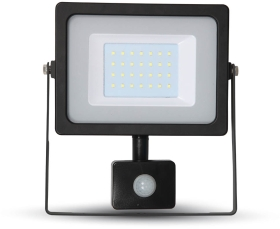 V-Tac Slimline LED Floodlight 30W Cool White with PIR Sensor (150W Alternative)