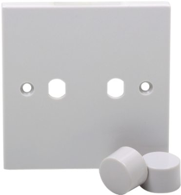 White Finished 2G Plate With Dimmer Knobs (For Use With Dimmer Module)