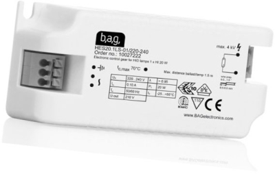 This is a ballast designed to run 20 W lamps which is part of our control gear range produced by BAG Electronics