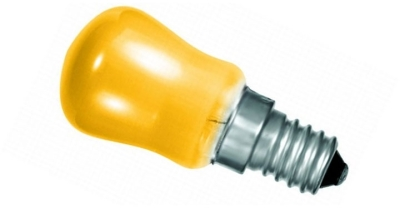 This is a 15 W 14mm SES/E14 Pygmy bulb that produces a Amber light which can be used in domestic and commercial applications
