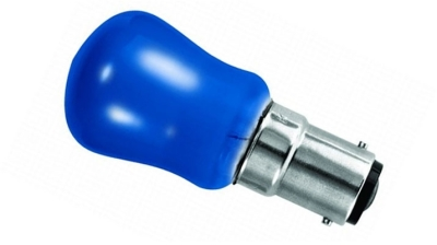 This is a 15 W 15mm Ba15d/SBC Pygmy bulb that produces a Blue light which can be used in domestic and commercial applications