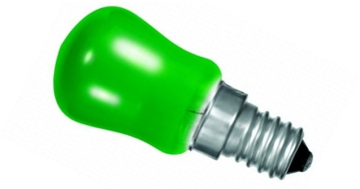 This is a 15 W 14mm SES/E14 Pygmy bulb that produces a Green light which can be used in domestic and commercial applications