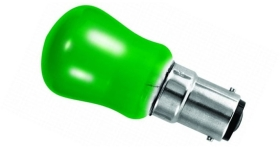 This is a 15 W 15mm Ba15d/SBC Pygmy bulb that produces a Green light which can be used in domestic and commercial applications