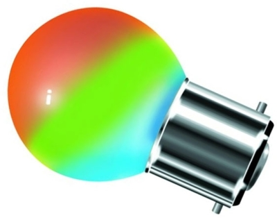 This is a 1 W 22mm Ba22d/BC Golfball bulb that produces a RGB light which can be used in domestic and commercial applications