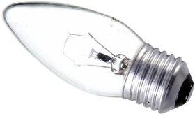 This is a 40W 26-27mm ES/E27 Candle bulb that produces a Clear light which can be used in domestic and commercial applications