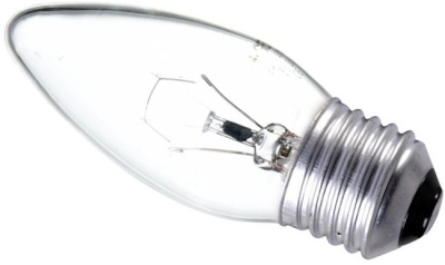 This is a 60W 26-27mm ES/E27 Candle bulb that produces a Clear light which can be used in domestic and commercial applications