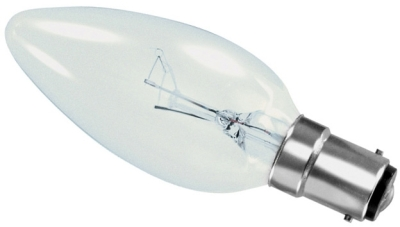 This is a 60W 15mm Ba15d/SBC Candle bulb that produces a Clear light which can be used in domestic and commercial applications