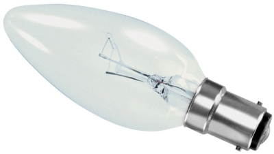 This is a 15W 15mm Ba15d/SBC Candle bulb that produces a Clear light which can be used in domestic and commercial applications