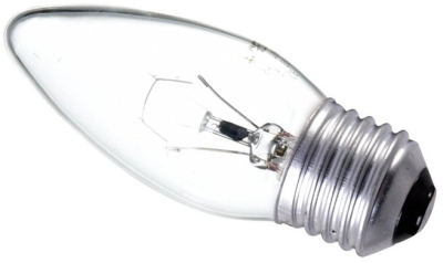 This is a 25W 26-27mm ES/E27 Candle bulb that produces a Clear light which can be used in domestic and commercial applications