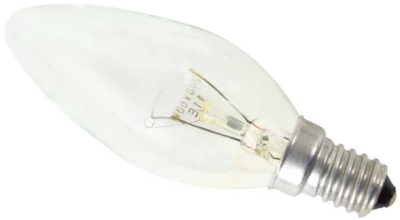 This is a 25W 14mm SES/E14 Candle bulb that produces a Clear light which can be used in domestic and commercial applications