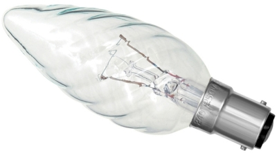 This is a 25W 15mm Ba15d/SBC Candle bulb that produces a Clear light which can be used in domestic and commercial applications
