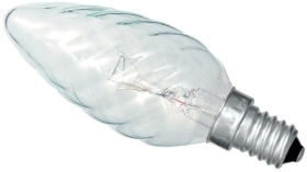This is a 40W 14mm SES/E14 Candle bulb that produces a Clear light which can be used in domestic and commercial applications