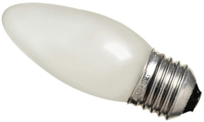 This is a 40W 26-27mm ES/E27 Candle bulb that produces a Pearl light which can be used in domestic and commercial applications