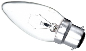 This is a 60W 22mm Ba22d/BC Candle bulb that produces a Clear light which can be used in domestic and commercial applications