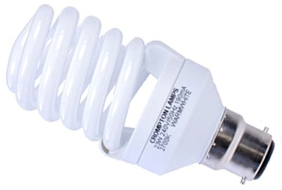 This is a 23 W 22mm Ba22d/BC Spiral bulb that produces a Very Warm White (827) light which can be used in domestic and commercial applications