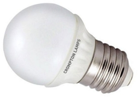 This is a 4 W 26-27mm ES/E27 Golfball bulb that produces a Warm White (830) light which can be used in domestic and commercial applications