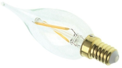 This is a 2 W 14mm SES/E14 Candle bulb that produces a Warm White (830) light which can be used in domestic and commercial applications