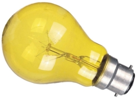 This is a 15W 22mm Ba22d/BC Standard GLS bulb that produces a Yellow light which can be used in domestic and commercial applications