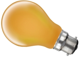 This is a 25W 22mm Ba22d/BC Standard GLS bulb that produces a Amber light which can be used in domestic and commercial applications