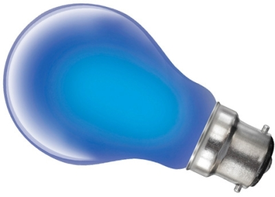 This is a 25W 22mm Ba22d/BC Standard GLS bulb that produces a Blue light which can be used in domestic and commercial applications