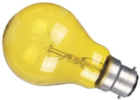 This is a 25W 22mm Ba22d/BC Standard GLS bulb that produces a Yellow light which can be used in domestic and commercial applications