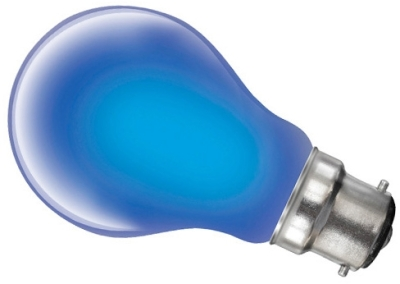 This is a 40W 22mm Ba22d/BC Standard GLS bulb that produces a Blue light which can be used in domestic and commercial applications