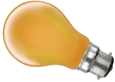 This is a 60W 22mm Ba22d/BC Standard GLS bulb that produces a Amber light which can be used in domestic and commercial applications