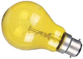 This is a 60W 22mm Ba22d/BC Standard GLS bulb that produces a Yellow light which can be used in domestic and commercial applications