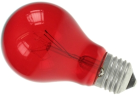 This is a 60W 26-27mm ES/E27 Standard GLS bulb that produces a Translucent Red light which can be used in domestic and commercial applications