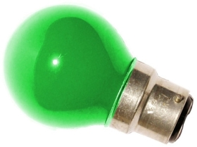 This is a 15W 22mm Ba22d/BC Golfball bulb that produces a Green light which can be used in domestic and commercial applications