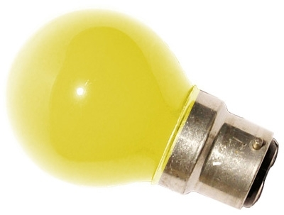 This is a 15W 22mm Ba22d/BC Golfball bulb that produces a Yellow light which can be used in domestic and commercial applications