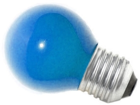 This is a 15W 26-27mm ES/E27 Golfball bulb that produces a Blue light which can be used in domestic and commercial applications