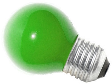 This is a 15W 26-27mm ES/E27 Golfball bulb that produces a Green light which can be used in domestic and commercial applications