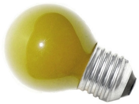 This is a 15W 26-27mm ES/E27 Golfball bulb that produces a Yellow light which can be used in domestic and commercial applications
