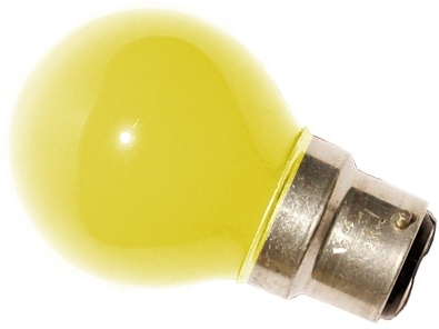This is a 25W 22mm Ba22d/BC Golfball bulb that produces a Yellow light which can be used in domestic and commercial applications