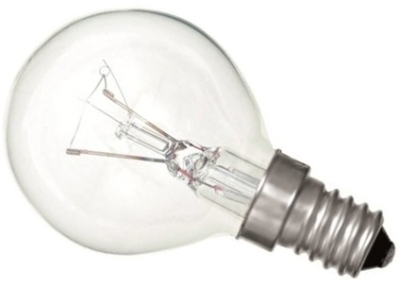 This is a 25W 14mm SES/E14 Golfball bulb that produces a Clear light which can be used in domestic and commercial applications