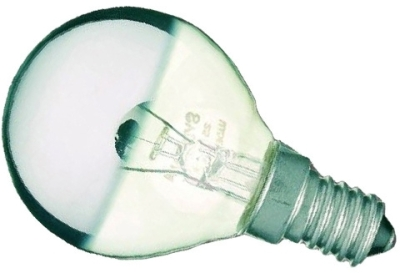 This is a 25W 14mm SES/E14 Golfball bulb that produces a Warm White (830) light which can be used in domestic and commercial applications