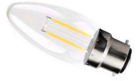 This is a 2 W 22mm Ba22d/BC Candle bulb that produces a Very Warm White (827) light which can be used in domestic and commercial applications