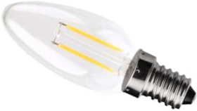 This is a 2 W 14mm SES/E14 Candle bulb that produces a Very Warm White (827) light which can be used in domestic and commercial applications
