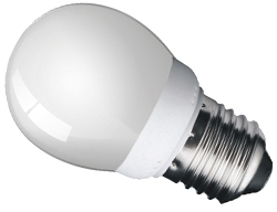 This is a 7W 26-27mm ES/E27 Golfball bulb that produces a Very Warm White (827) light which can be used in domestic and commercial applications