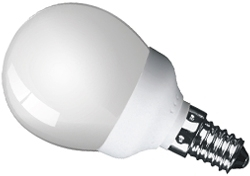 This is a 7W 14mm SES/E14 Golfball bulb that produces a Very Warm White (827) light which can be used in domestic and commercial applications