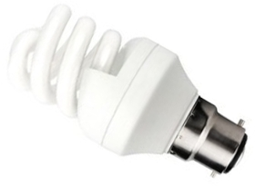 This is a 11 W 22mm Ba22d/BC Spiral bulb that produces a Daylight (860/865) light which can be used in domestic and commercial applications