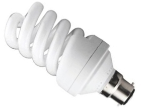 This is a 24 W 22mm Ba22d/BC Spiral bulb that produces a Cool White (840) light which can be used in domestic and commercial applications