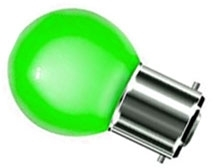 This is a 1W 22mm Ba22d/BC Golfball bulb that produces a Green light which can be used in domestic and commercial applications