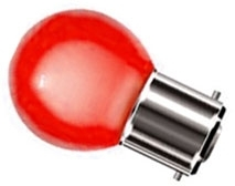 This is a 1W 22mm Ba22d/BC Golfball bulb that produces a Red light which can be used in domestic and commercial applications