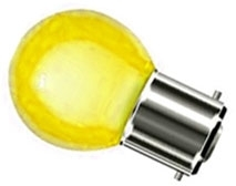 This is a 1W 22mm Ba22d/BC Golfball bulb that produces a Yellow light which can be used in domestic and commercial applications