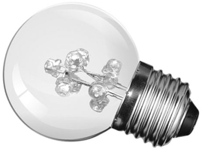 This is a 1W 26-27mm ES/E27 Golfball bulb that produces a Cool White (840) light which can be used in domestic and commercial applications