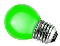This is a 1W 26-27mm ES/E27 Golfball bulb that produces a Green light which can be used in domestic and commercial applications