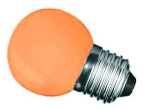 This is a 1W 26-27mm ES/E27 Golfball bulb that produces a Orange light which can be used in domestic and commercial applications